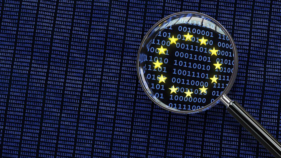 Illustration of binary digits and the EU logo under a magnifying glass