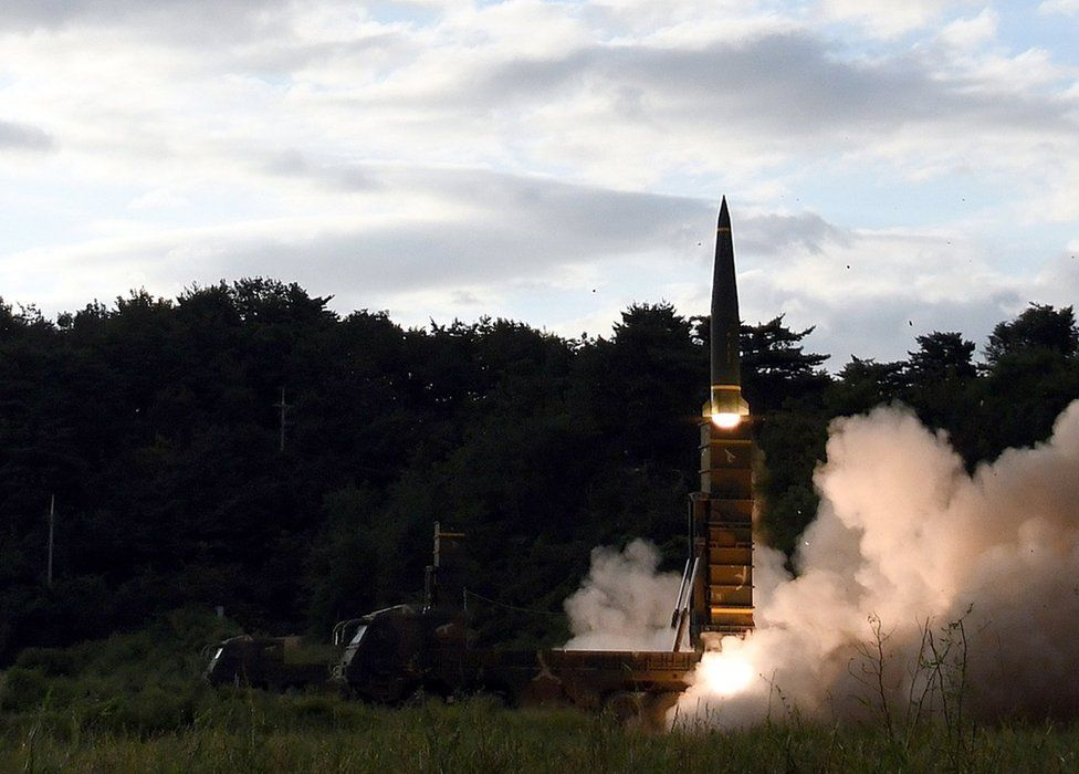 A South Korean Hyunmoo-II missile being fired toward the East Sea, at an undisclosed location, South Korea, 15 September 2017