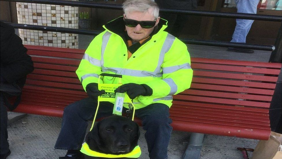 Rex Bowers and his guide dog