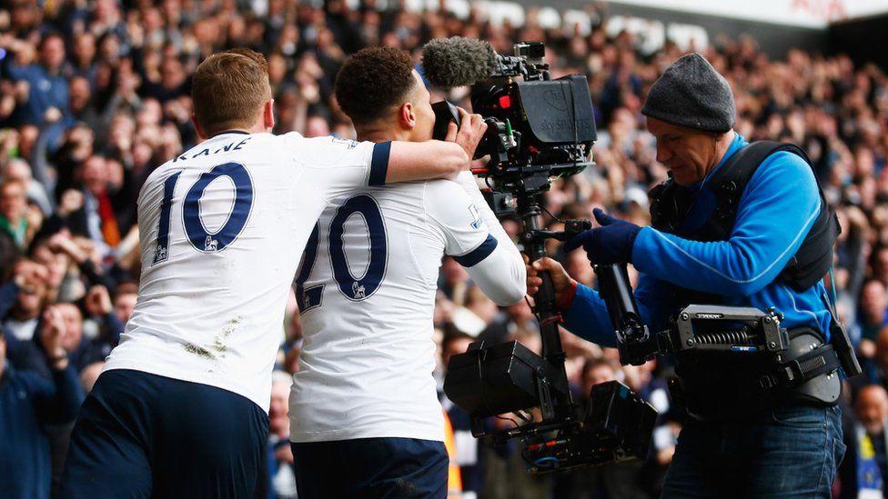 Dele Alli of Tottenham Hotspur celebrates into the TV camera after scoring a Premier League goal v Man Utd