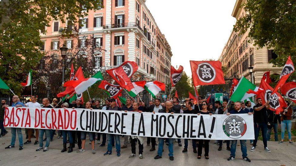 Casa Pound protesters in Rome