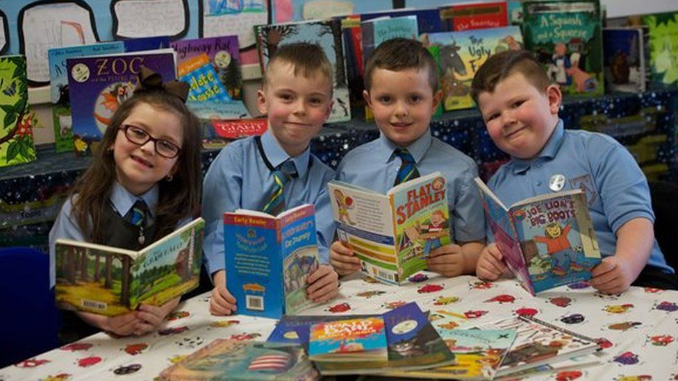 Pupils from St Anthony's Primary in Johnstone - Olivia Regan, Jack McLaughlin, David Baird and Corey Jamieson, which was named Literacy School of the Year by the UKLA in March 2018.