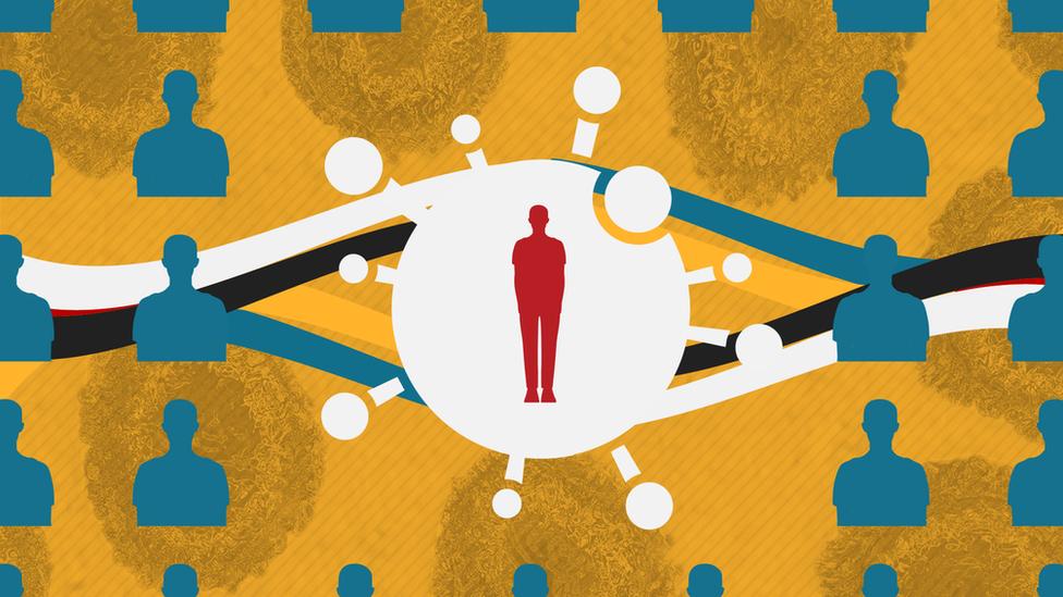 A graphic showing a human figure inside a coronavirus