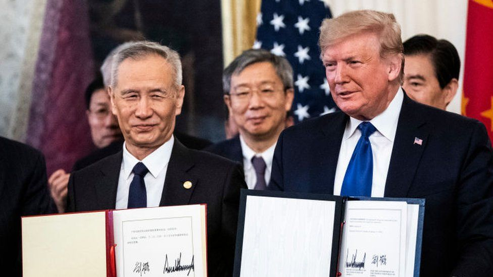 President Donald J. Trump signs a trade agreement with Chinese Vice Premier of the People's Republic of China, Liu He in the East Room at the White House on Wednesday, Jan 15, 2020 in Washington, DC.