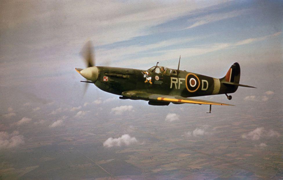 Pilot Jan Zumbach flies a Spitfire c1943