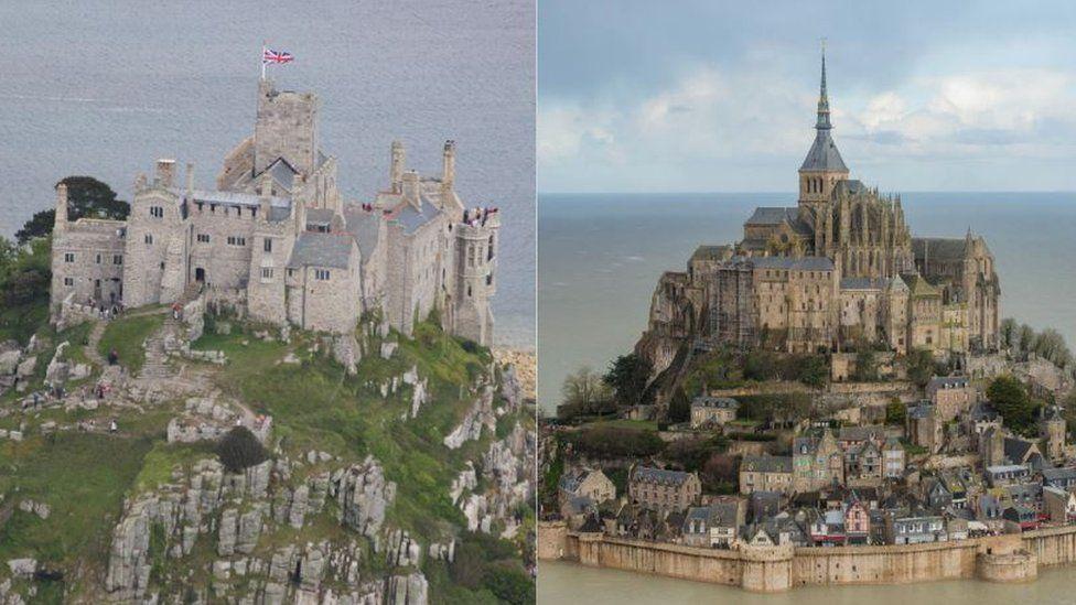 St Michael's Mount and Mont Saint-Michel