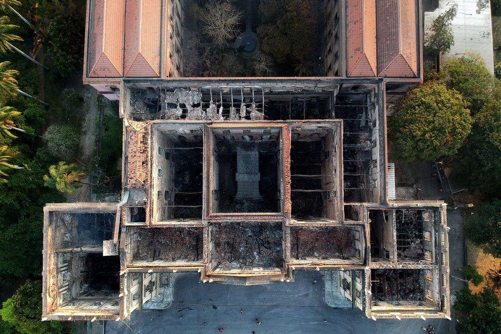 Aerial view of Rio de Janeiro's National Museum after a fire