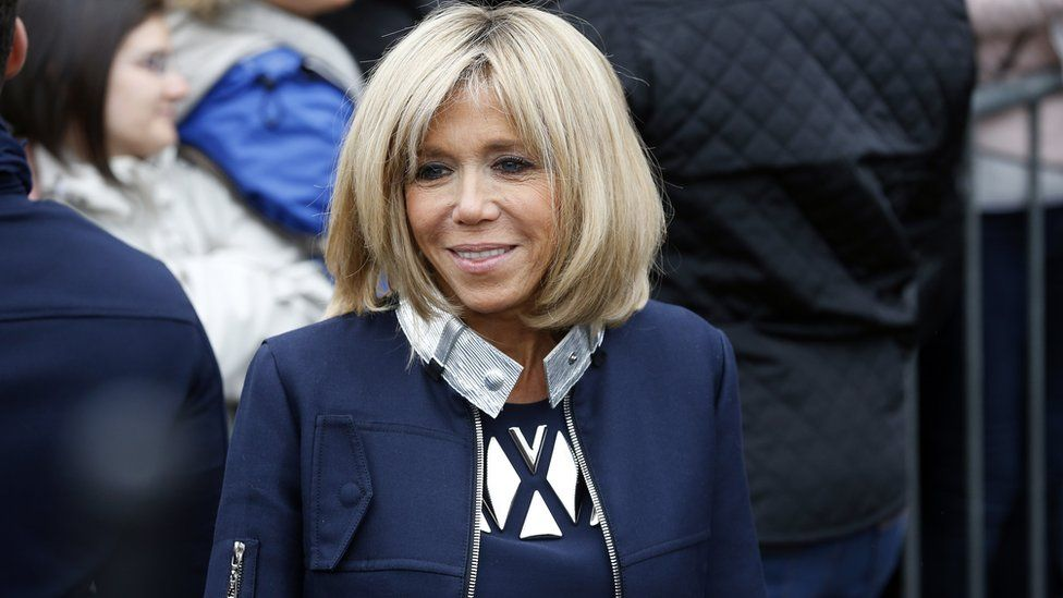 Brigitte Macron leaves a polling station in Le Touquet on 7 May