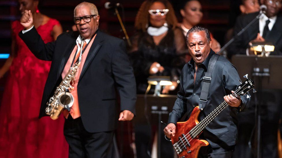 """Dennis Thomas and Robert """"Kool"""" Bell of Kool & The Gang at the 2019 Marian Anderson Award honouring the band in Philadelphia in 2019"""
