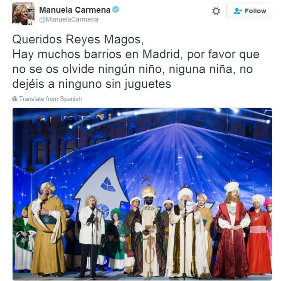 "Tweet from Madrid mayor Manuela Carmena reads: ""Dear Three Kings: There are a lot of neighbourhoods in Madrid, please don't forget any boy, any girl, don't leave any child without a toy"""