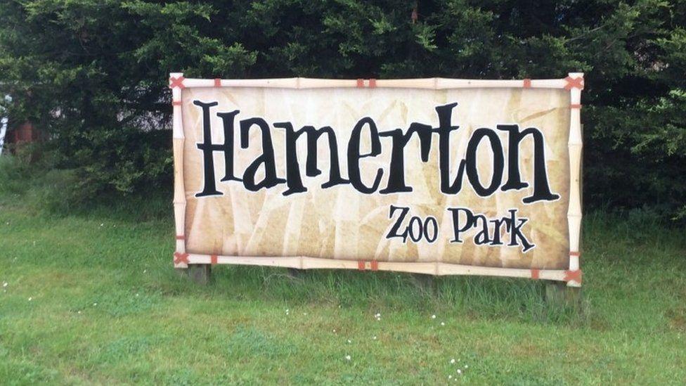 Hamerton Zoo Park sign