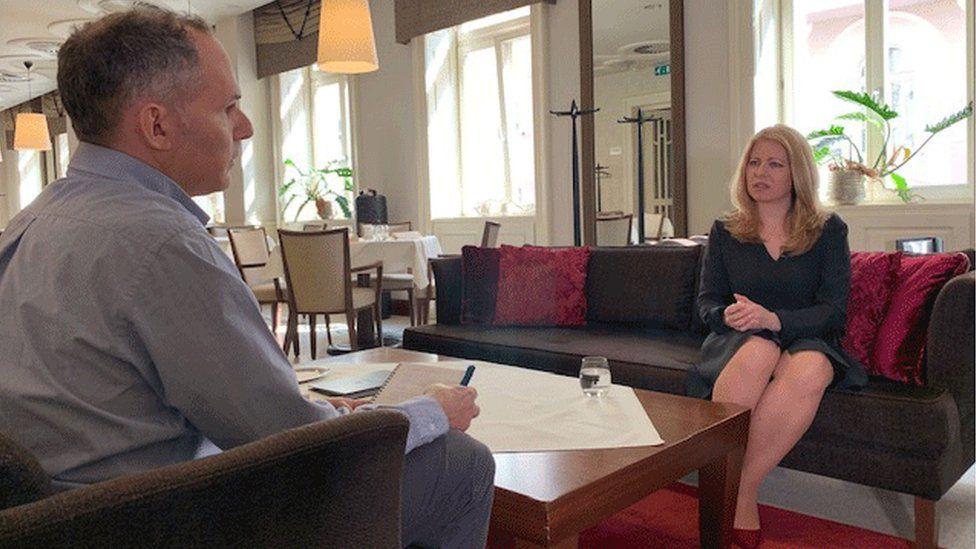 Rob Cameron interviewing Zuzana Caputova in Bratislava