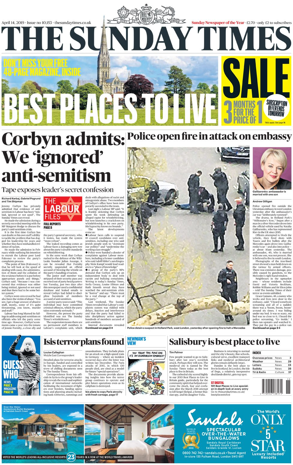 Sunday Times front page, 14/4/19