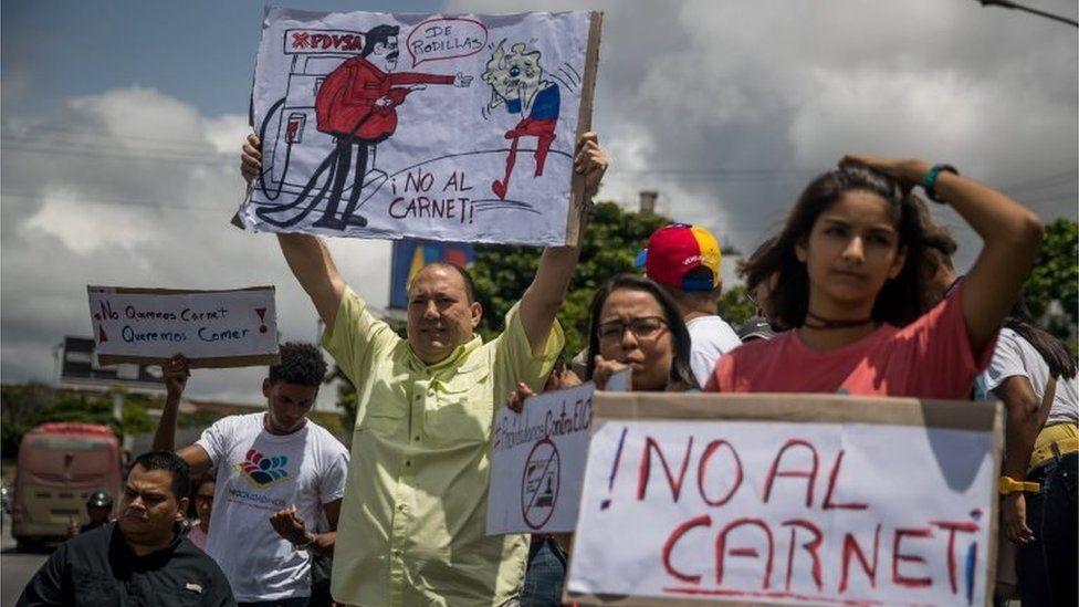 People demonstrate against the policies of President Nicolas Maduro, in Caracas, Venezuela, 03 August 2018.