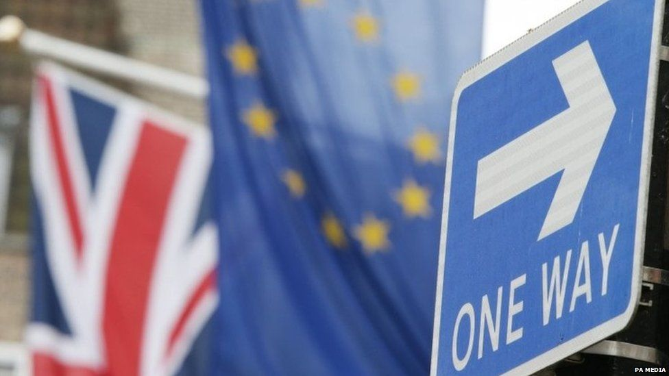 British and EU flags outside the EU's main office in central London