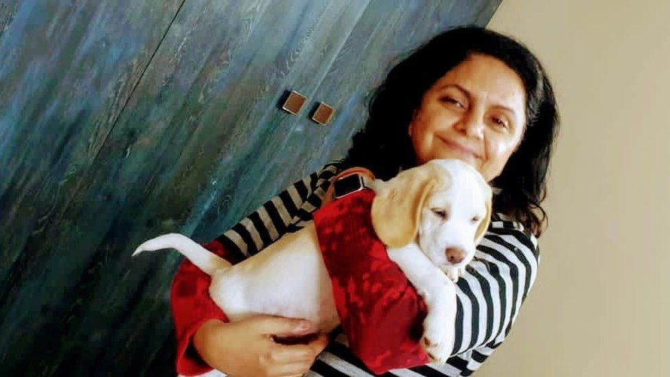 Dr Basu with her dog
