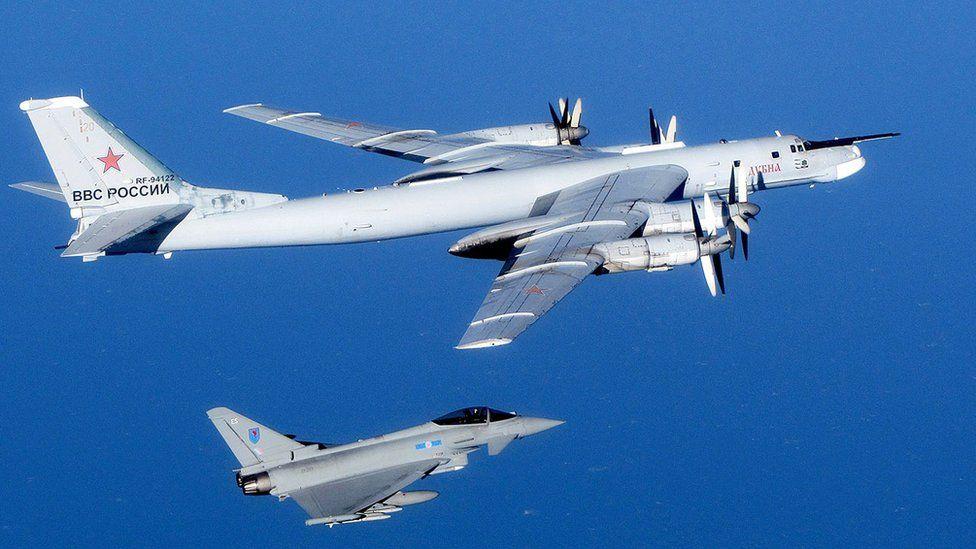 UK Typhoon fighter intercepting Russian Tupolev Bear bomber, Sept 2014