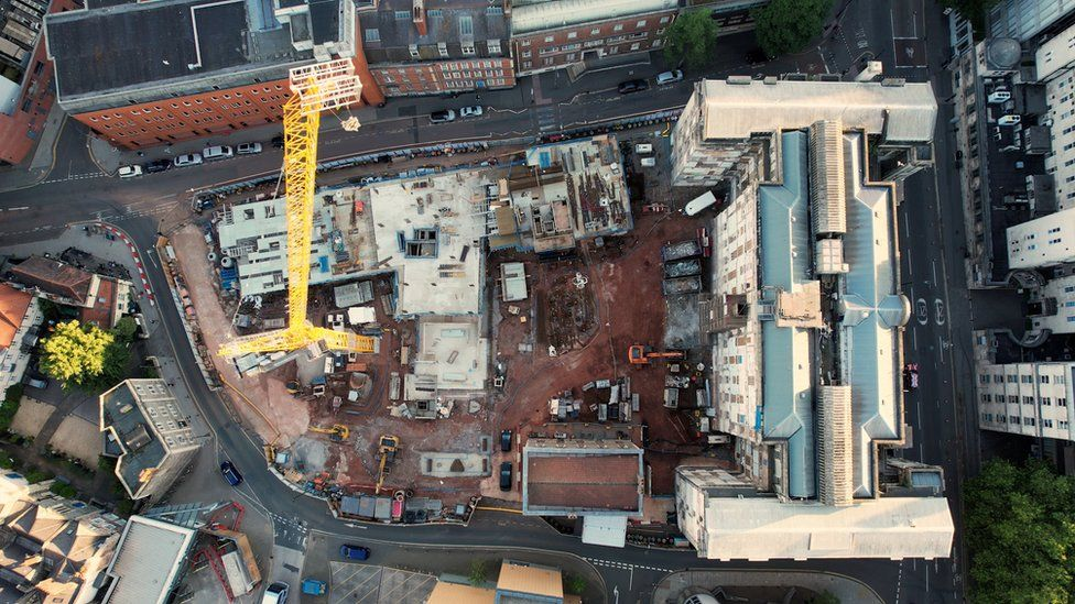 Drone footage also released today shows the current progress of building work on the site in the heart of Bristol city centre