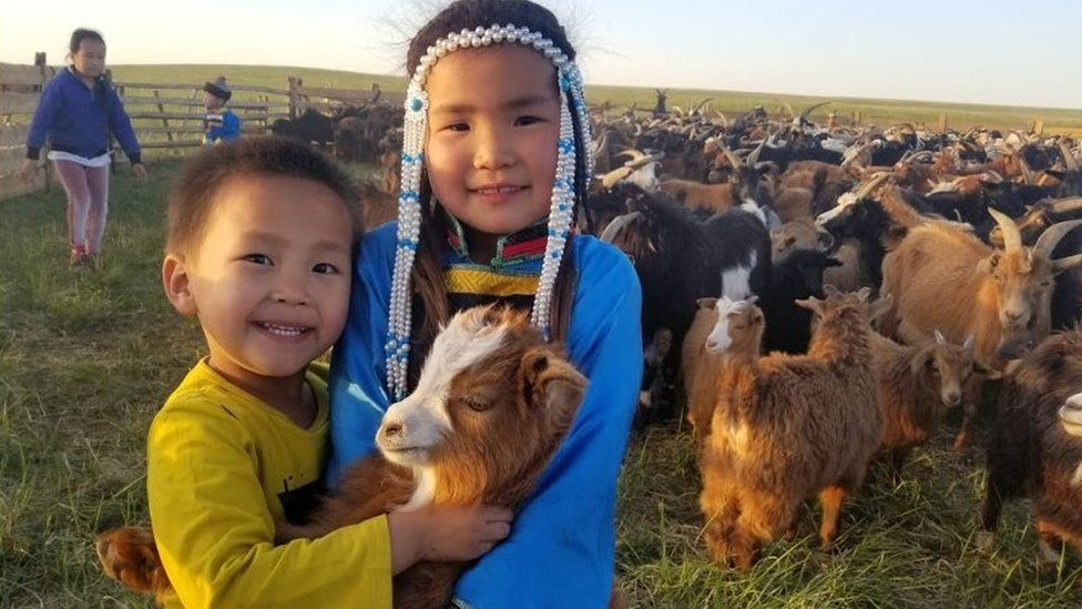 Two Mongolian children with a goat