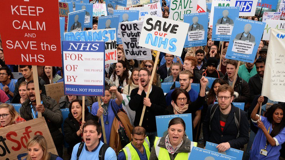 Protestors at a junior doctors' rally