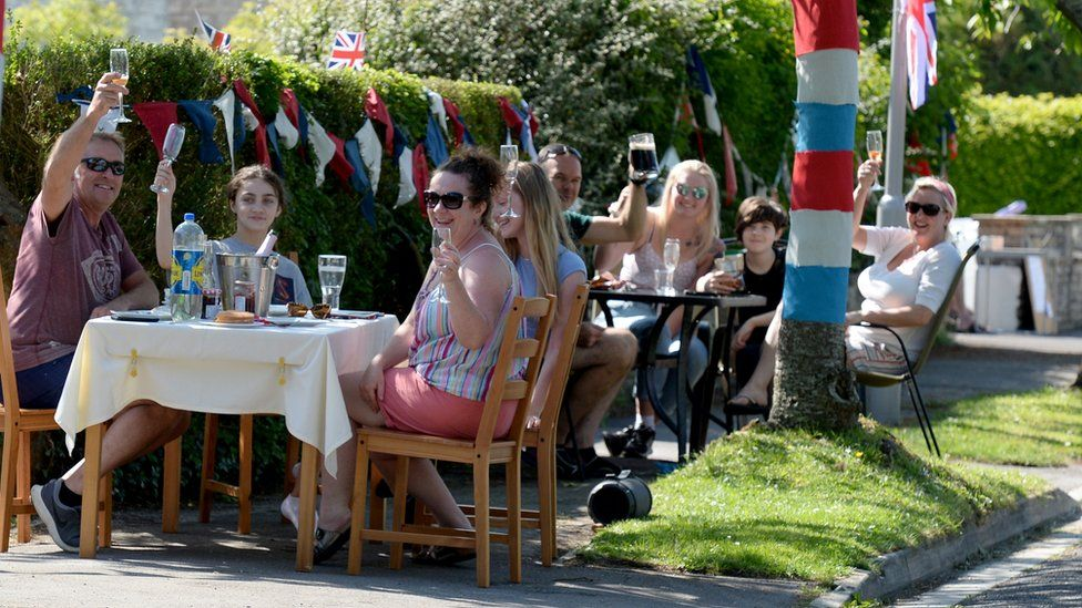 A socially distanced VE DAy street party in Dorchester