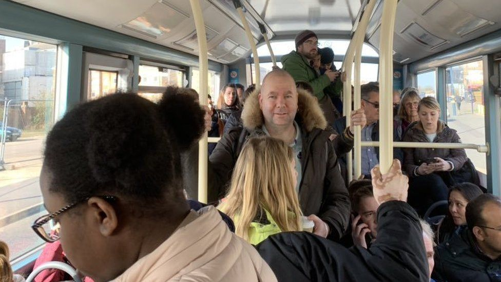 A packed rail replacement bus
