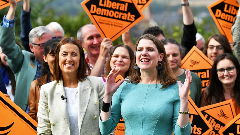 Newly-elected Liberal Democrat leader Jo Swinson with new MP and Welsh Liberal Democrat leader Jane Dodds