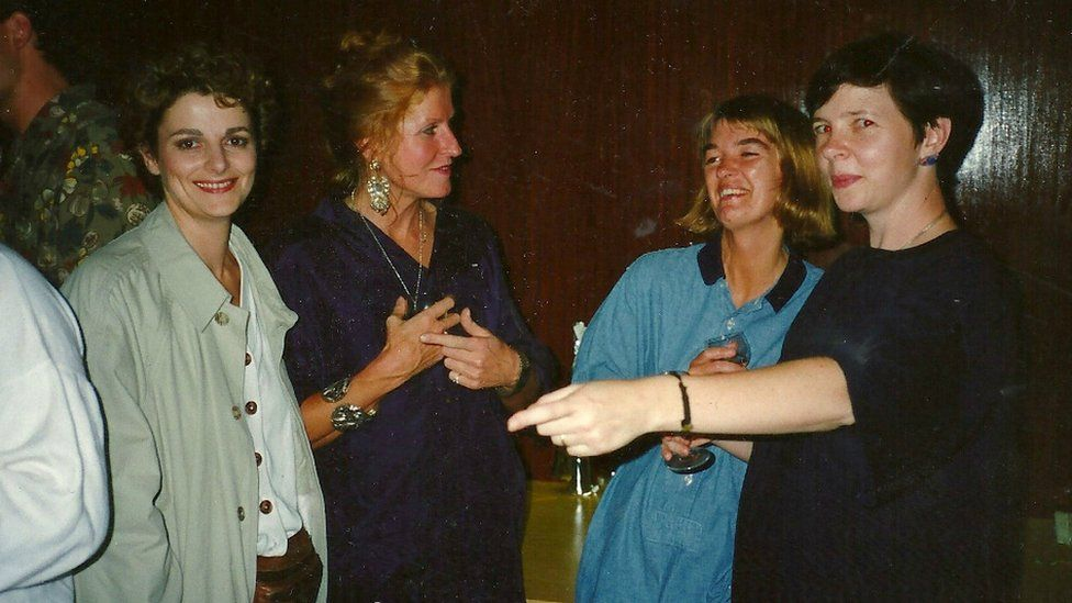 Gillian Bevan (Dr Pascoe), Caroline Nobel (make-up), Charlotte Blair (PA) and Lesley Manning (director) at a gathering on the day of the Ghostwatch wrap