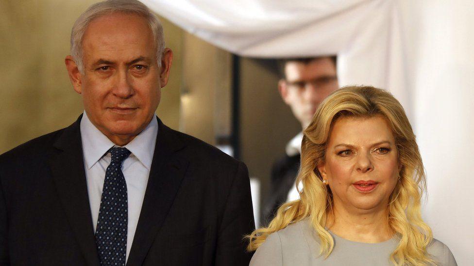 Israeli Prime Minister Benjamin Netanyahu and his wife Sara at the PM's office in Jerusalem, June 6, 2017