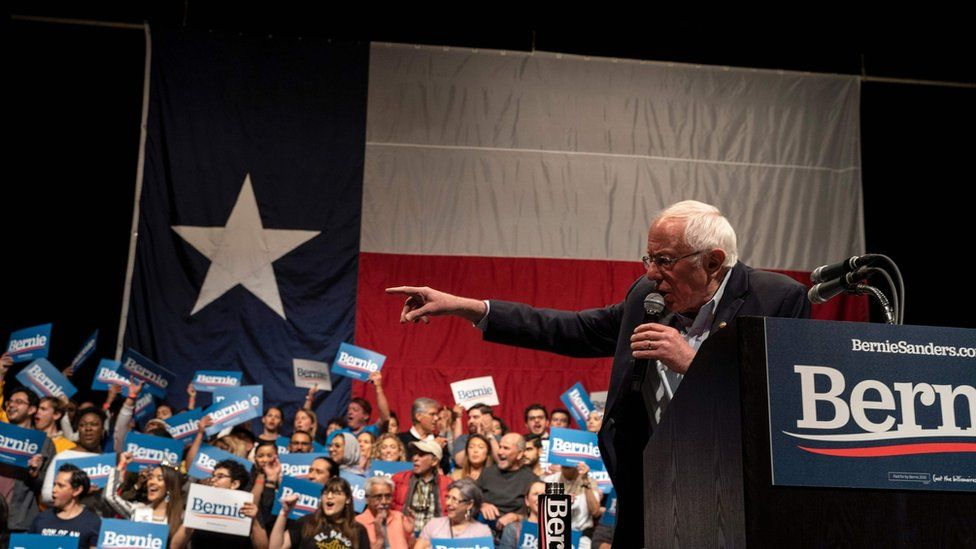 Democratic presidential hopeful Vermont Senator Bernie Sanders gestures as he speaks during a rally at the Abraham Chavez Theatre on February 22, 2020 in El Paso, Texas