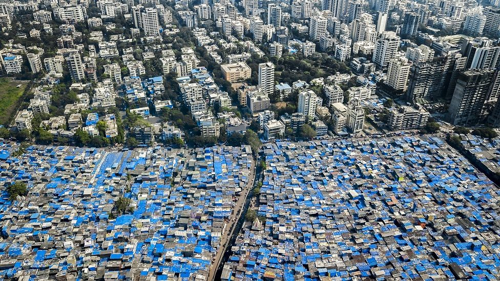 Skyscrapers contrast with informal housing in Mumbai, India
