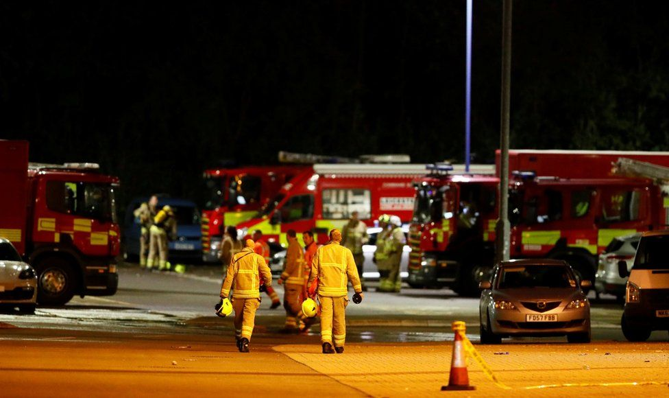 October 27, 2018 Firefighters at the scene of where the helicopter belonging to Leicester City owner Vichai Srivaddhanaprabha crashed outside the King Power Stadium