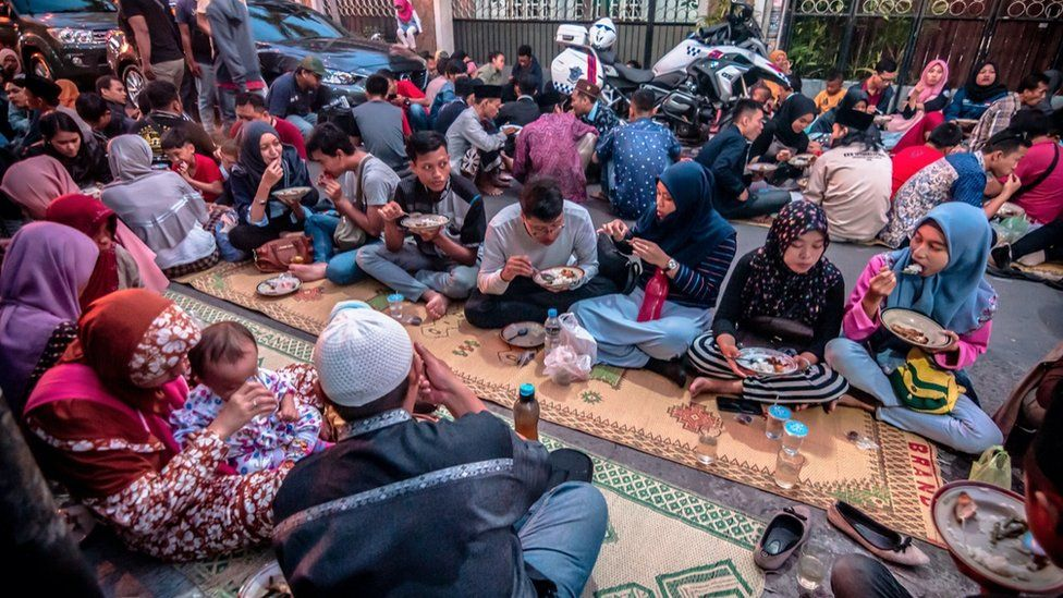 An Iftar meal in Indonesia