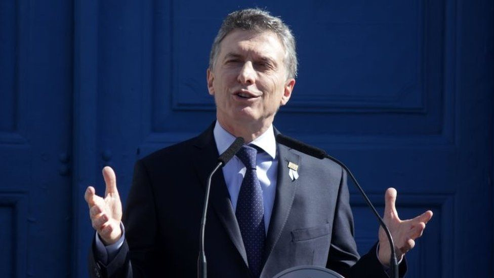 Argentine President Mauricio Macri delivers a speech during the commemoration of the bicentenary of the Argentinian Independence in Tucuman, Argentina on July 9, 2016