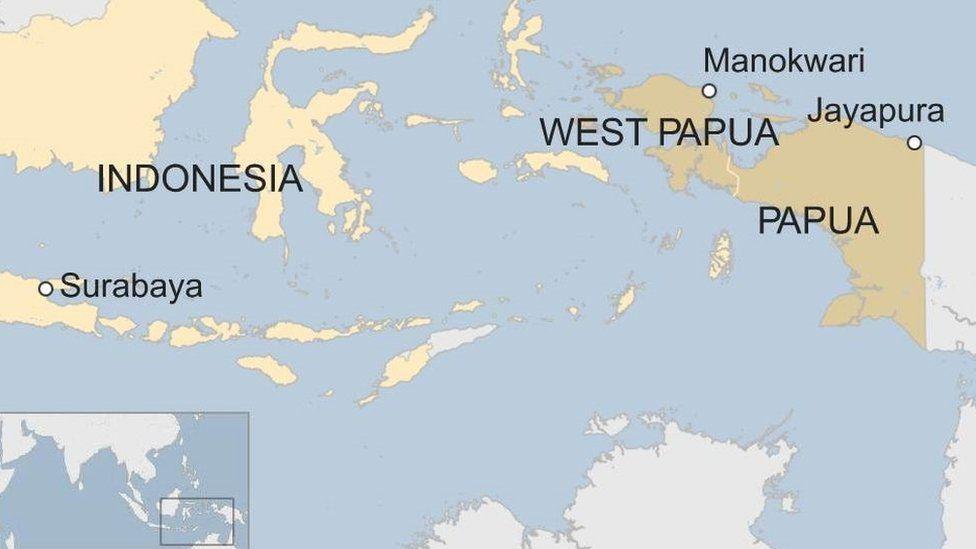 Map of Indonesia showing Surabaya, Manokwari and Jayapura