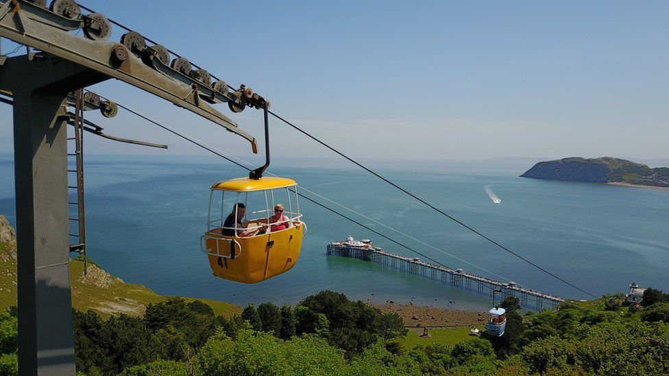 Cable car heading down to the sea