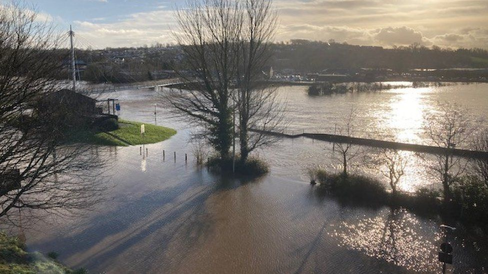 River Tywi has burst its banks in Carmarthen