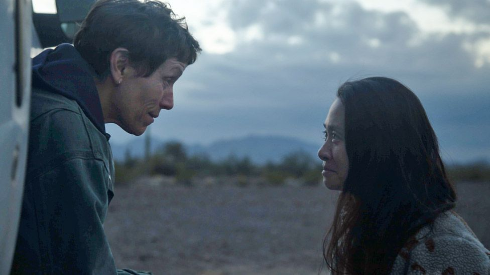 Nomadland star Frances McDormand (left) and director Chloe Zhao