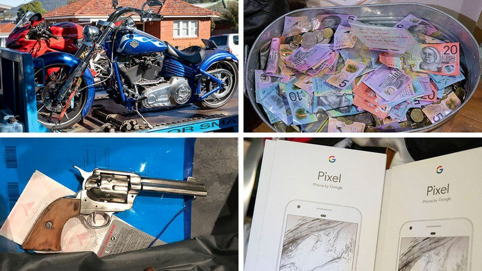 Composite photo shows items seized in the sting, including cash and a motorbike
