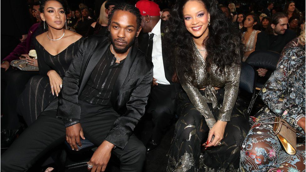Kendrick Lamar and Rihanna at the 60th Annual GRAMMY Awards in 2018