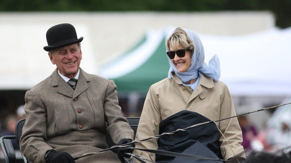 The Duke of Edinburgh in May 2009 with the now the Countess Mountbatten of Burma, who is one of the 30 guests