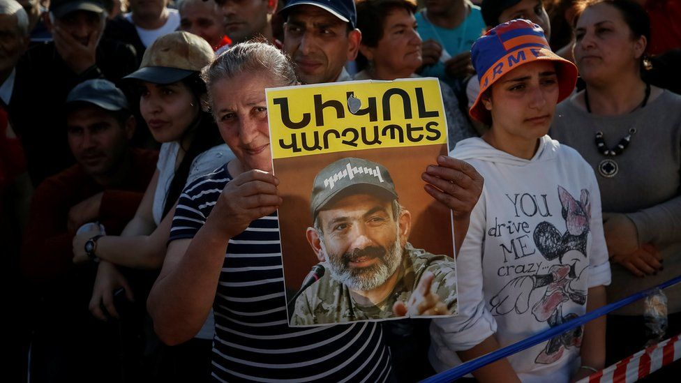 Armenian opposition supporters attend a rally after protest movement leader Nikol Pashinyan announced a nationwide campaign of civil disobedience, at Republic Square in Yerevan, Armenia May 2, 2018.