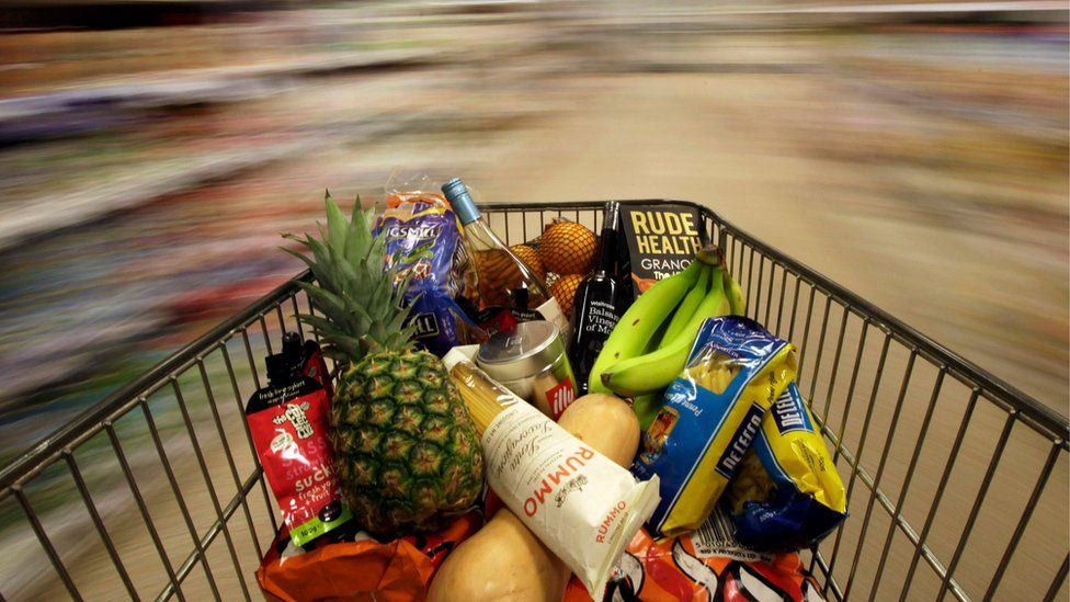 Shopping trolley of food
