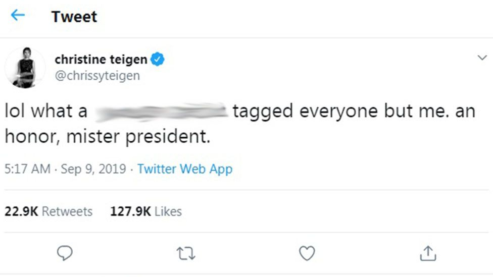 Screenshot of Chrissy Teigen's response