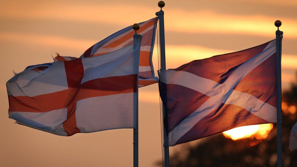 English, Scottish and Union flags
