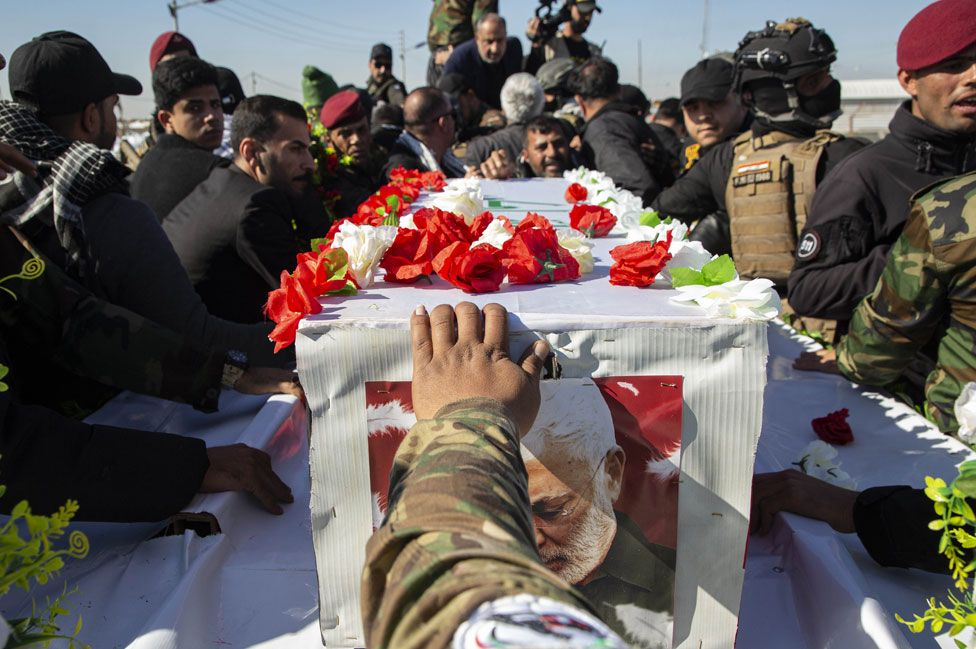 The funeral of an Iraqi paramilitary chief and friend of Soleimani also killed in the US drone strike