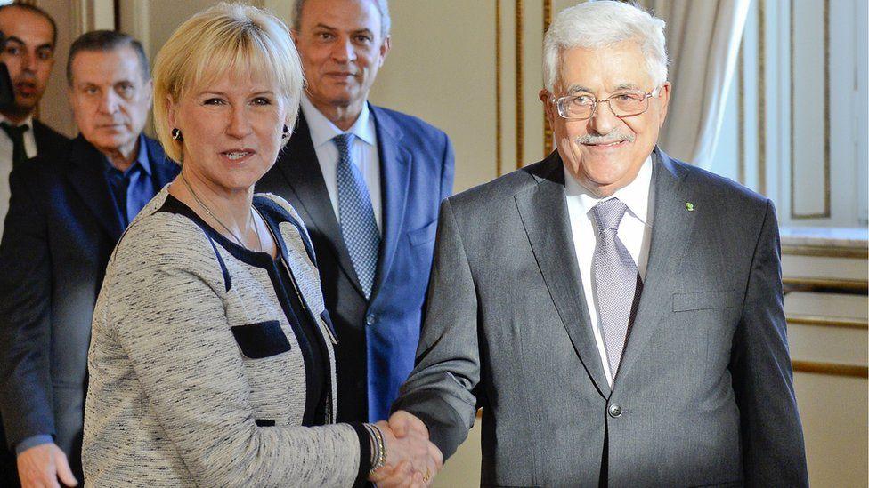 Ms Wallstrom with Palestinian President Mahmoud Abbas, Feb 2015