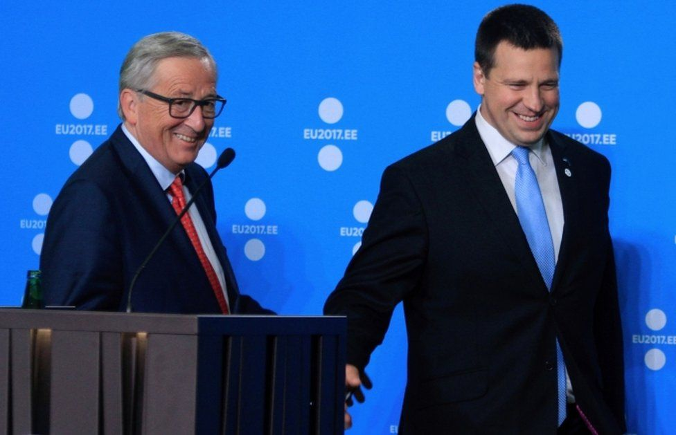 President of the European Commission Jean-Claude Juncker (L) and Prime Minister of Estonia, Jueri Ratas during a joint press conference to mark the start of Estonia's six month rotating EU presidency on 30 June 2017.