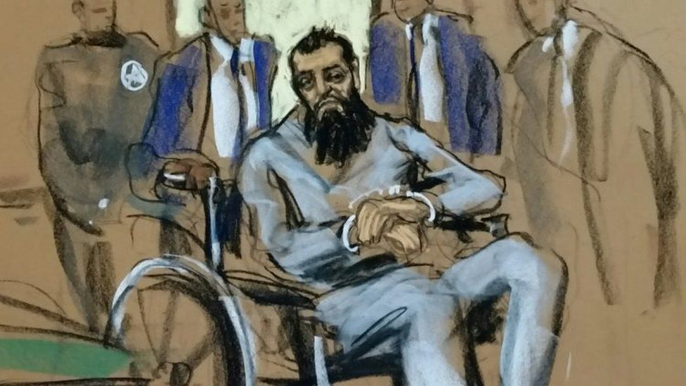 Sayfullo Saipov appears in court sketch in wheelchair on 1 November