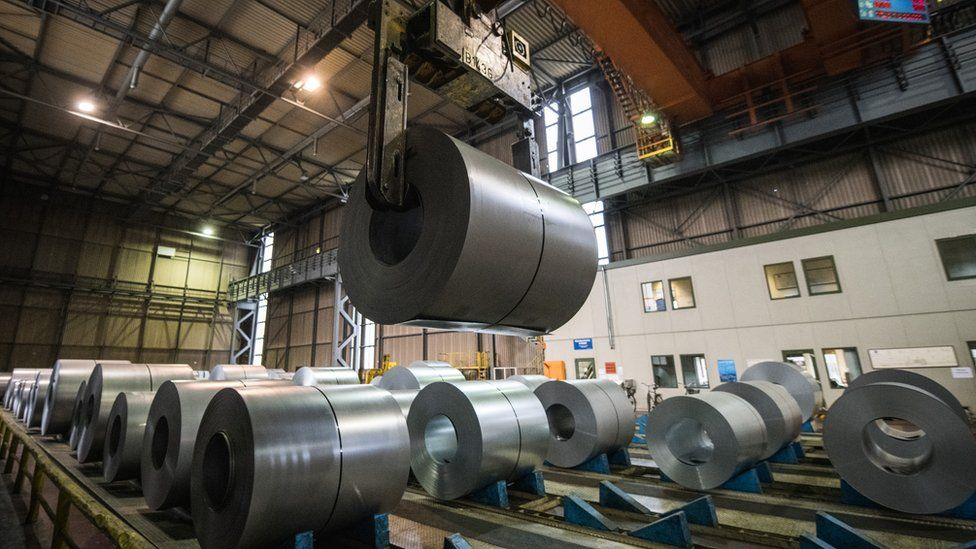 Galvanized coiled steel at the ThyssenKrupp steelworks on January 17, 2018 in Duisburg, Germany